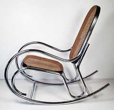 Vintage Mid Century Modern Chrome Rocking Chair, Thonet Rocker Lounge Italy in Antiques, Periods & Styles, Mid-Century Modernism Iron Furniture, Steel Furniture, Unique Furniture, Furniture Design, Swinging Chair, Rocking Chair, Steel Bed Design, Sheet Metal Art, Earthy Home