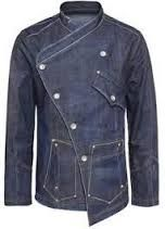 Image result for denim chef jacket with a splash of color