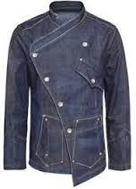 Image result for denim chef jacket with a splash of color
