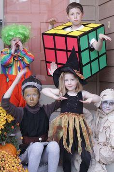 Homemade Halloween Costumes DIY. Clown. Rubiks Cube. Witch. Mummy. Mrs. Frankenstein.