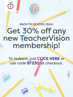 Sign up for any new TeacherVision subscription and save 30%! This offer won't last forever, so redeem your offer now (or use code BTS30 at checkout).