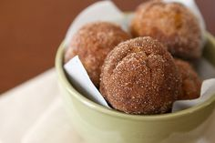 Baked Pumpkin Spice Donut Holes - all real ingredients, but not quite healthy!
