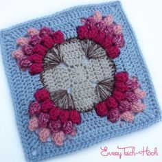 "Flowers for a Friend - free 9"" crochet square pattern by Polly Plum at Every Trick on the Hook."