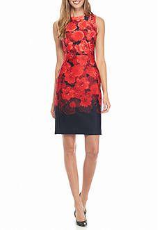Calvin Klein Floral Printed Ombre Sheath Dress