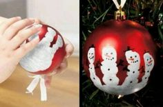 Handprint Snowman Ornament idea (linked everything else cool from link)... JV