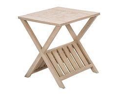 Mesa auxiliar de madera de roble macizo con revistero