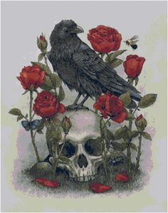 Black Raven & Roses Skull Counted Cross Stitch Pattern, Instant Download PDF, Relaxing Hobby by KustomCrossStitch on Etsy