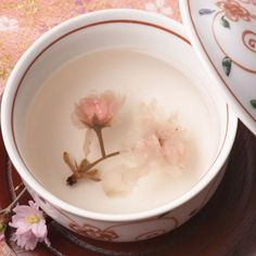 Japanese cherry blossom (sakura) tea for celebration 桜茶
