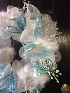 Silver and Blue deco mesh wreath, winter wreath, Christmas mesh wreath, front door wreath on Etsy, $60.00