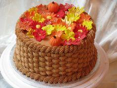 Fall themed basket weave Birthday cake