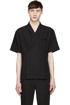 Short sleeve woven wool-blend shirt in black. Subtle tonal dotted pattern woven throughout. Welt pocket at chest. Formal Shirts, Casual Shirts For Men, Men Casual, Mens Kimono Shirt, Kimono Noir, Rare Clothing, Black Kimono, Men Street, Minimal Fashion