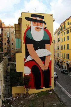 Arte urbano. Muros ilustrados con AGOSTINO IACURCI  Ilustración editorial en gran formato… ilustración convertida en muralismo.    Leer más: http://www.colectivobicicleta.com/2012/05/arte-urbano-de-agostino-iacurci.html#ixzz1wJZoY6Sy