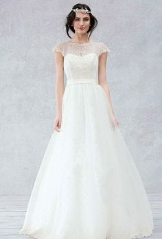 Brides: Galina Exclusively at David's Bridal. Cap sleeve gauze gown with scalloped detail bodice.��See More Galina Gowns, Exclusively at David's Bridal