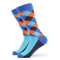Our bold blue and orange argyle socks have all the cool vibes you need for rocking your day. The shades from the dark to the light give a nice touch making these the cool socks you need. Made with 80% Cotton, 17% Nylon, and 3% Spandex, these Unisex socks are perfect for US Size 7.5-12.5 feet. Funky Socks, Crazy Socks, Cool Socks, Orange Socks, Blue Socks, Danish Men, Grumpy Cat Quotes, Orange Games, The Argyle