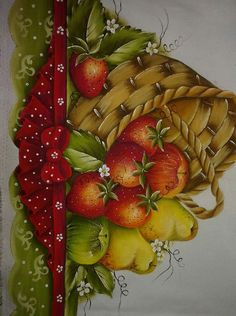 Fruit Painting, Tole Painting, Fabric Painting, Fruit Picture, Painted Clothes, Paint Designs, Creative Art, Embroidery Designs, Decoupage