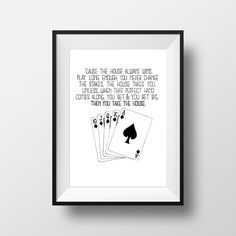 You Take The House - Oceans Eleven Movie Quote Print Film Gift