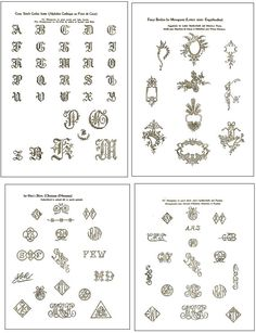 Vintage Hand EMBROIDERY MONOGRAM Design PATTERNS 66 pages See Review