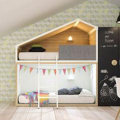 Esta litera con forma de casita de aires nórdicos ha sido la sensación de las últimas ferias de diseño por sus líneas minimalistas y puras y... ¡la hemos conseguido para Minimoi! - 2.380,00€