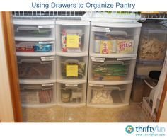 Our pantry shelves don't go all the way to the floor, so there was a lot of wasted space that could be used. I bought a few plastic drawer sets and adjusted the shelving so that the drawers fit underneath.