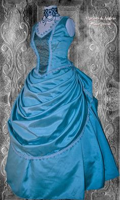 "Love this! Stunning Unique one off Blue Victorian Steampunk Wedding / Ball Gown waist 30"" bust 39"""