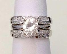 10k White Gold Solitaire Enhancer 0.33ctw Diamonds Ring Guard Wrap Jacket by RG&D