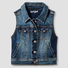 Girls' Jean Vest Cat & Jack - Dark Vintage Wash