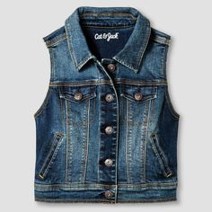Girls' Jean Vest Cat & Jack - Dark Vintage Wash