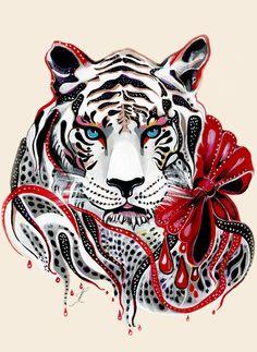 White Tiger Art Print by Felicia Atanasiu   Society6
