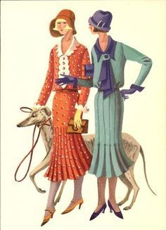 simplicity fashion 1930 - Google Search; Art Deco 1930s Fashion Ladies w Greyhound Dog Postcard