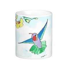 Colorful Hummingbird White 11  or 15 oz Classic Mug From an original Watercolor Painting Garden Nature Floral Bird Coffee Tea by MBrothertonArt on Etsy