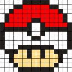 Pokeball Mushroom Perler Bead Pattern / Bead Sprite
