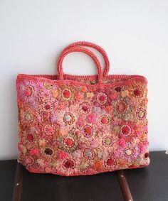 フランス かぎ編み バッグ ハンドメイド ラフィア。sophie digard ソフィーディガール フラワー ラフィアバッグ レッド