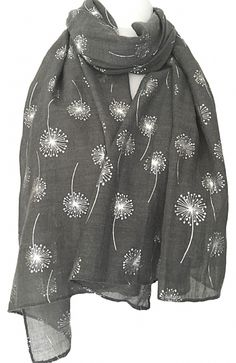 5fb63893d Large dark grey scarf with a sparkly silver Dandelion floral print The scarf  is long wide