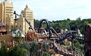 The black Mamba is a rollercoaster with a beautifal  Africa design. Where: Phantasialand Germany.