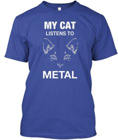 My Cat Listens To Metal Deep Royal T-Shirt Front