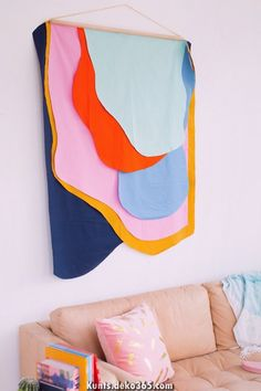 Colorful DIY Fabric Wall Hanging by top Houston li. Colorful DIY Fabric Wall Hanging by top Houston li… – Diy Wall Art, Diy Wall Decor, Diy Art, Diy Home Decor, Wall Decorations, Bedroom Decor, Tv Decor, Christmas Decorations, Houston