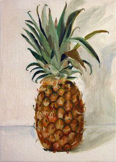Pineapple by Sarah Lynch Pineapple Painting, Fruit Painting, Tole Painting, Acrylic Paintings, Gouche Painting, Fruit Art, Russian Art, Doodle Drawings, Kitchen Art