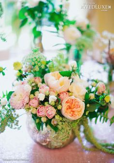 WedLuxe: Style File with pink and emerald floral and decor #wedding #ideas. Centrepiece by Blush & Bloom