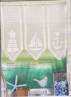 """Photo from album """"Elena Ouvrages Rideaus au crochet - on Yandex. Filet Crochet, Crochet Chart, Crochet Patterns, Crochet Curtains, Diy Curtains, Crochet Doilies, Crochet Anchor, Nautical Crochet, Crochet Beanie"""