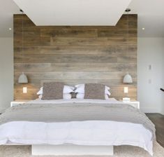 Wood panel accent wall bedroom accent wall ideas different ways to cover your walls in wood . Accent Wall Bedroom, Bedroom Lamps, Master Bedroom, Bedroom Furniture, Bedroom Beach, Upstairs Bedroom, Accent Walls, Bedroom Decorating Tips, Bedroom Ideas
