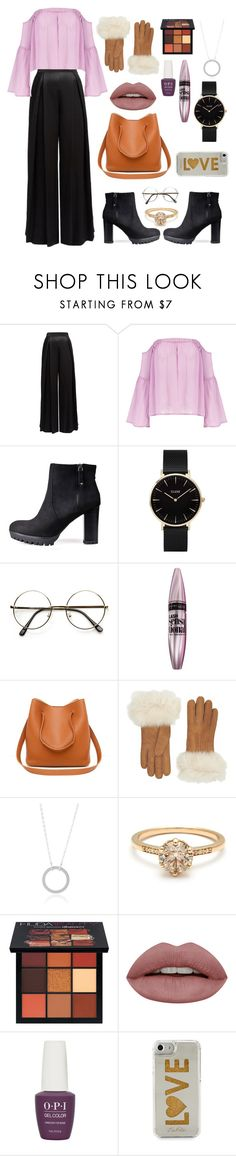 """""""My Christmas Eve Outfit"""" by amberkemp440 on Polyvore featuring CLUSE, Maybelline, UGG, Huda Beauty, OPI and Edie Parker"""