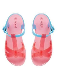 Jelly T-Bar Sandals aqua and red.