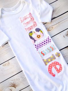 """""""the Olivia"""" newborn girls monogram name applique gown. the best shower gift, coming home or hospital outfit. by sweet sprouts"""