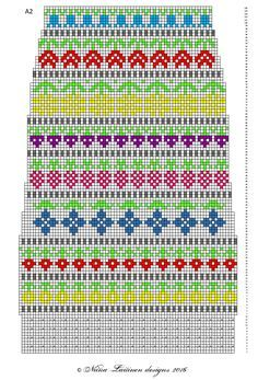 Toinen Knit along -projektikin valmistui. Näihin kirjoneulesukkiin ilmestyi ohjeenpätkä aina aamuisin 1.-13.3. facebookin sivuillani (... Fair Isle Chart, Fair Isle Pattern, Swedish Weaving Patterns, Knitting Patterns, Knitting Charts, Knitting Socks, Tapestry Crochet, Knit Crochet, Mini Christmas Stockings