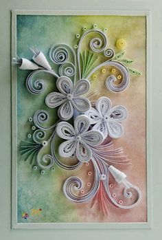 Love the white quilling with colored background. Alcohol inks would be pretty with white