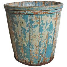 Large Antique Wood Gathering Bucket