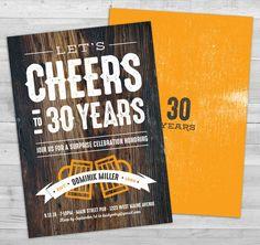Beer Invitation Cheers to 30 Years Male Birthday by WLAZdesignSHOP