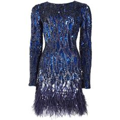 Matthew Williamson Liquid Sequin Feather Trimmed Mini Dress ($4,630) ❤ liked on Polyvore featuring dresses, vestidos, short dresses, blue, navy, navy blue cocktail dress, navy dresses, blue sequin dress and navy cocktail dresses