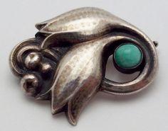 Georg Jensen Vintage Sterling Silver & Turquoise Floral  Brooch