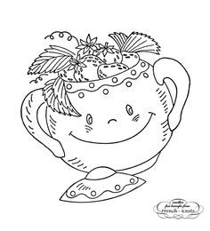 Smiling Kitchen Hand Embroidery Transfer Pattern  - Sugar Bowl